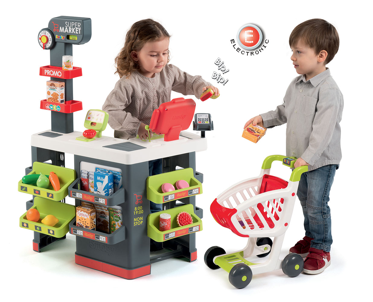 Smoby - Supermarché avec chariot et 42 accessoires Rouge