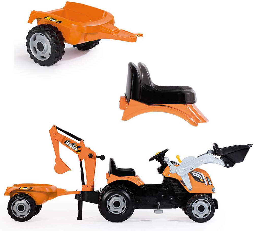 Smoby-Tracteur et remorque ''Builder Max''