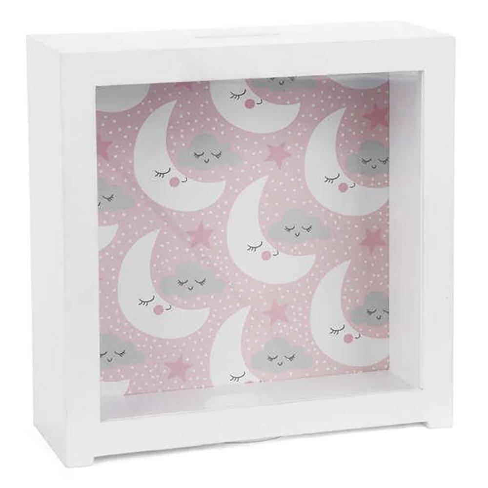 Boite banque lune avec fond rose