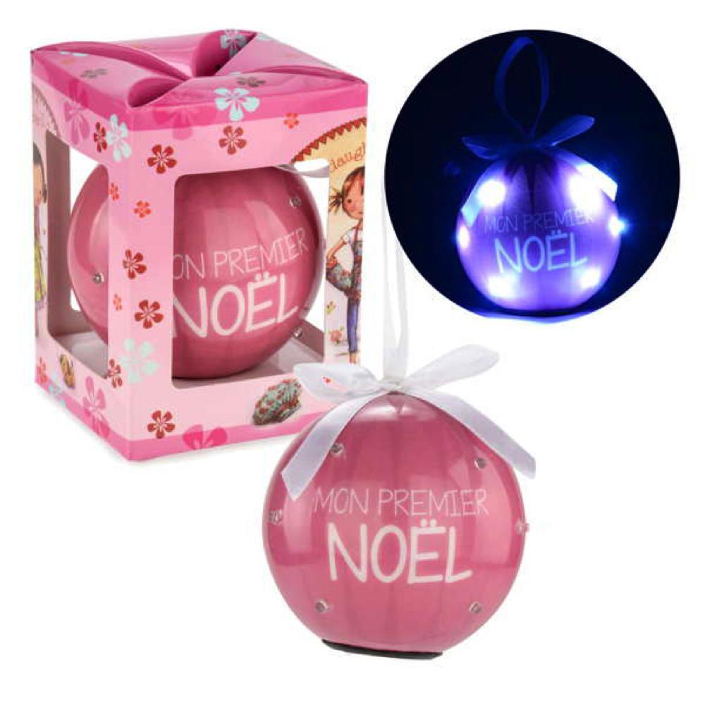Boule rose lumineuse Mon premier Noël