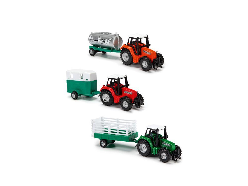 Dickie - Tracteur et remorque Farm Life Team 18 cm assortis