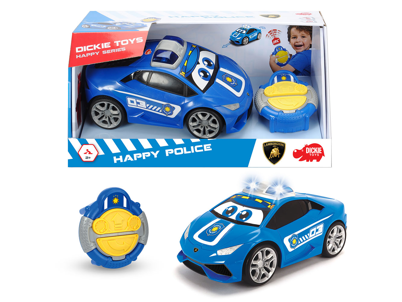 Dickie - Happy Auto de Police téléguidée Lamborghini Huracan 27 cm