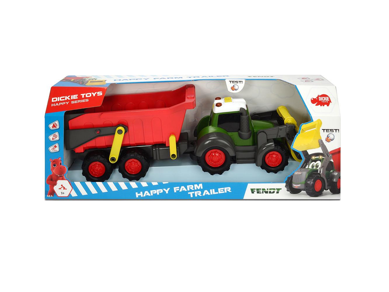Dickie - Happy Fendt Tracteur et remorque Sons et lumières 65 cm
