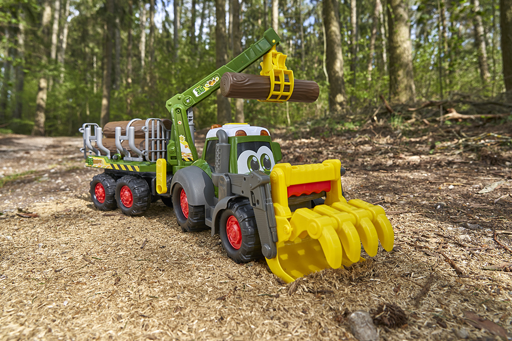 Dickie - Happy Fendt Tracteur forestier et remorque  Sons et lumières 65 cm